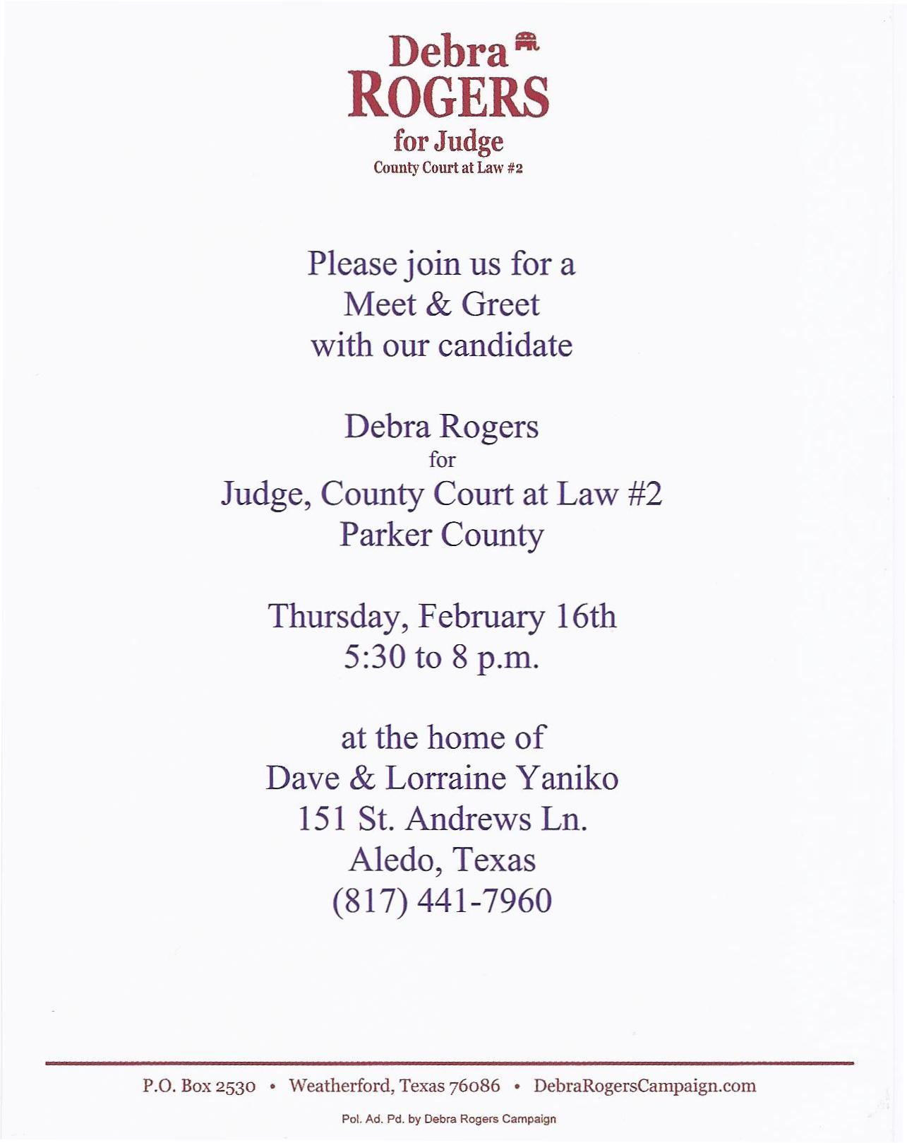 Meet greet debra rogers candidate for judge county court at law like this kristyandbryce Gallery