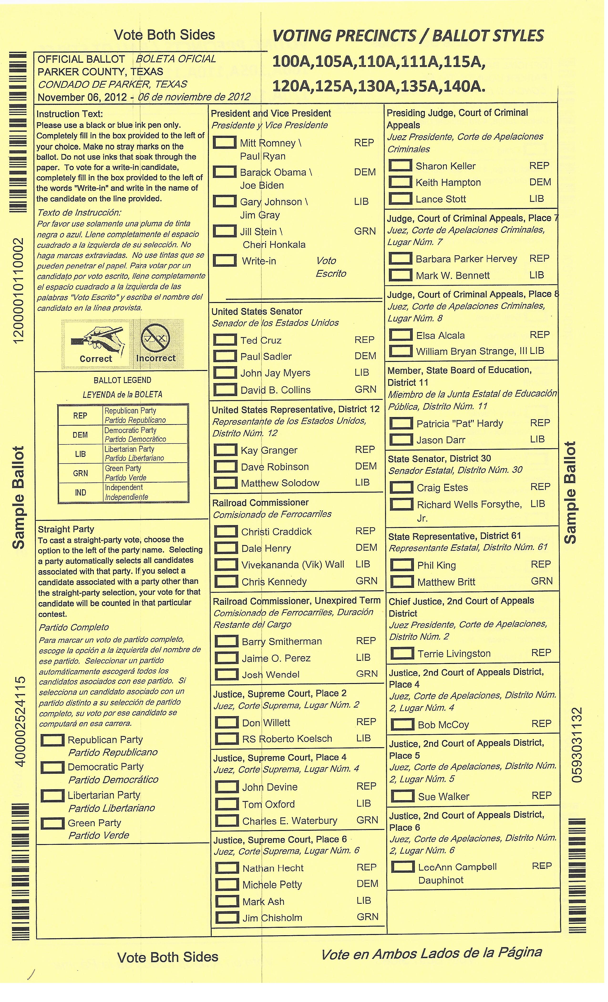 2012 General Election Voter Information   Parker County Blog