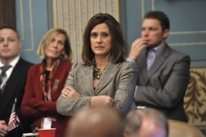 Senate Minority Leader Gretchen Whitmer, D-East Lansing, waits for the vote on the Senate's right-to-work legislation so that she can call for a Democratic caucus walkout late Thursday, Dec. 6, 2012, in Lansing. The GOP-controlled House and Senate passed bills the same day they were introduced that gives workers the right to avoid paying union dues in an organized workplace. (Dale G. Young / The Detroit News)