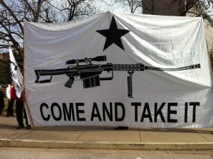 "A homemade 12 foot by 20 foot ""Come and Take It"" flag at the Gun Appreciation Day rally at the Texas Capitol Jan. 19, 2013. (Photo by Kolten Parker)"