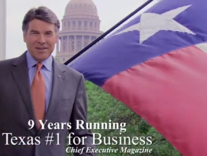 Gov. Rick Perry in 'Texas Is Calling' ad. (credit: YouTube)