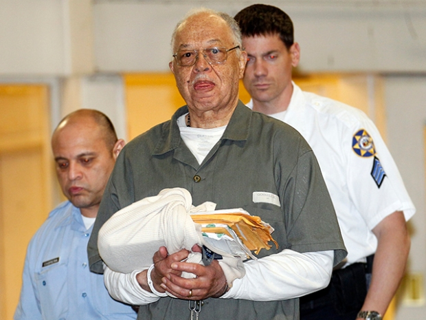 Dr. Kermit Gosnell, 72, center, gets escorted to a van leaving the Criminal Justice Center after getting convicted on three counts of first degree murder on Monday, May 13, 2013, in Philadelphia, Pennsylvania. (Yong Kim/Philadelphia Inquirer/MCT) (Newscom TagID: krtphotoslive617003.jpg) [Photo via Newscom]