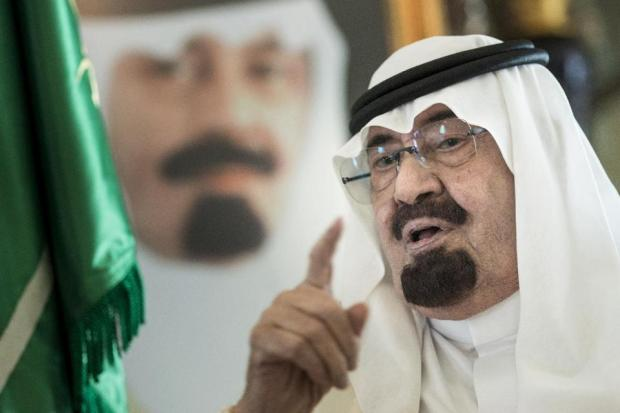 Saudi King Abdullah bin Abdulaziz al-Saud speaks before a meeting with the US Secretary of State at his private residence on June 27, 2014 in the Red Sea city of Jeddah (AFP Photo/Brendan Smialowski)